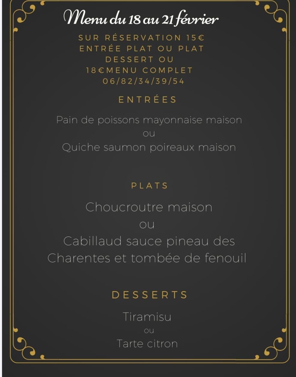 menu en livraison